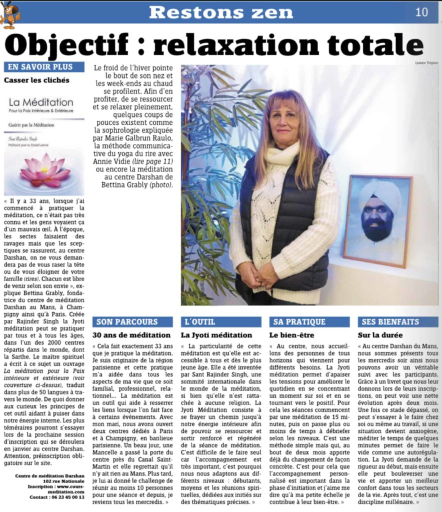 article journal lemans maville centre de meditation darshan (jyoti)
